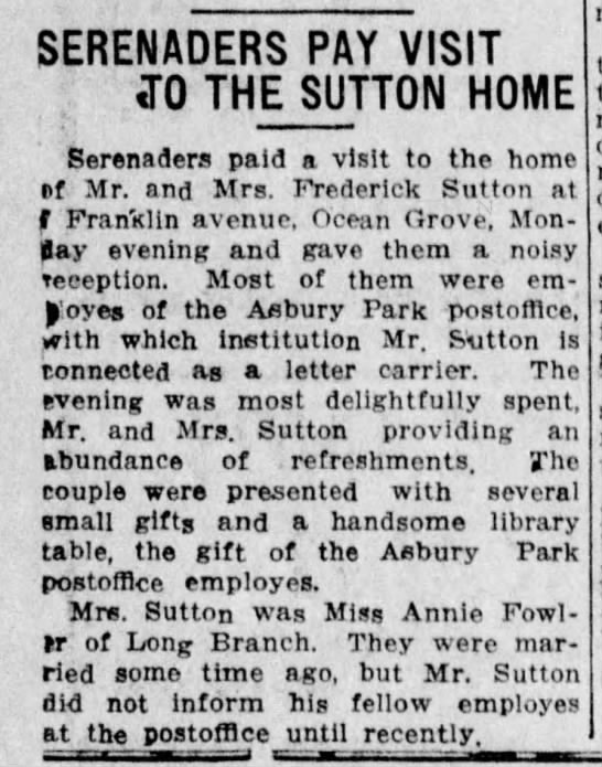 Fred & Annie Sutton 1913 - SERENADERS PAY VISIT ; T0 THE SUTTON HOME...