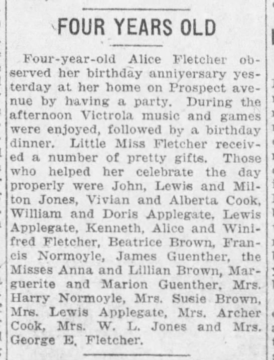 Mrs. Archer Cook at birthday party - -FOUR -FOUR YEARS OLD Four-year-old...