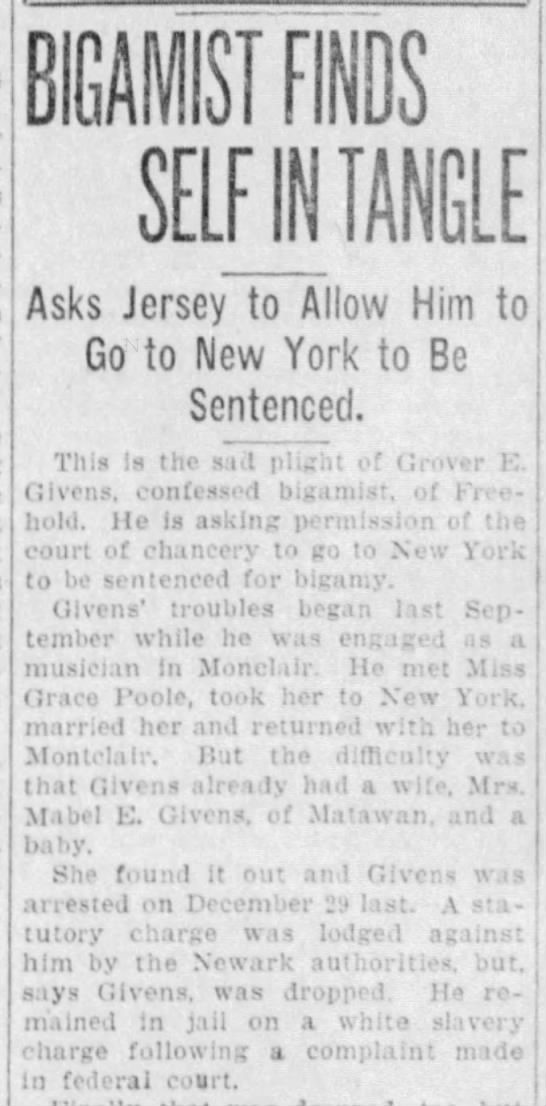 Grover Givens, bigamist, Asbury Park Press, 19 Apr 1924, p 1 (pt 1) - BIGAMIST FINOS SELFJMTANGLE Asks Jersey to...