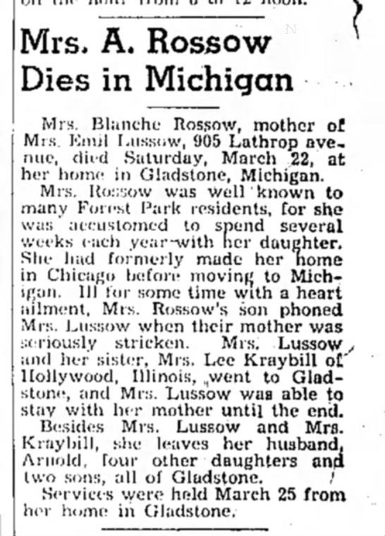 - Mrs. A. Rossow ^ Dies in Michigan Mrs. Blanche...