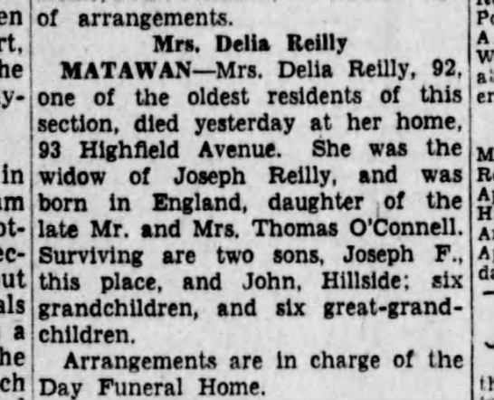 Great Grandmother, Reilly side - In am a of arrangements. Mrs. Delia Reilly...