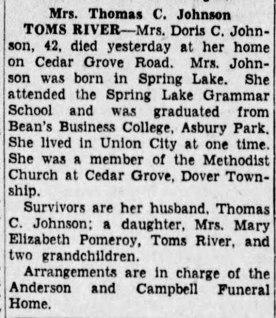 Published in Asbury Park Press; Wednesday, 21 May 1952; Page 2 - Mrs. Thomas C. Johnson TOMS RIVER Mrs. Doris C....
