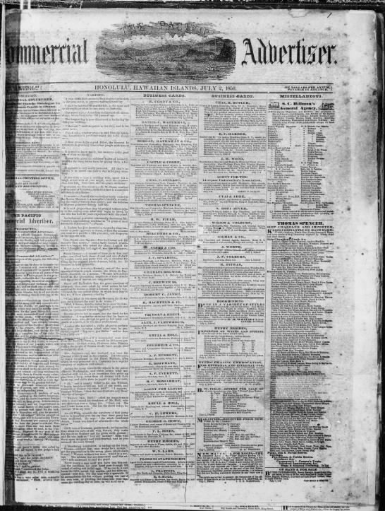First issue of the Pacific Commercial Advertiser - g.'-n . -. .vi i ! ! i II J l : HONOLULU,...