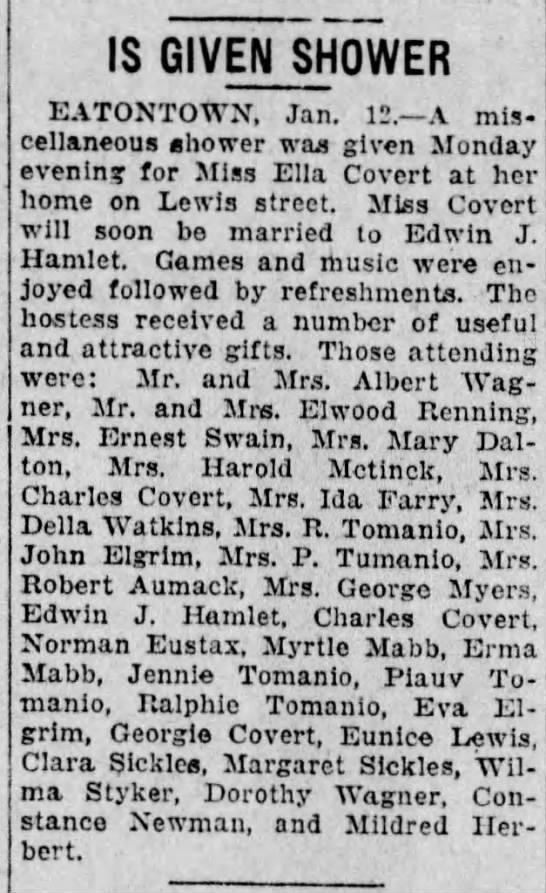 Bridal Shower for Ella Covert 1927 - IS GIVEN SHOWER EATONTOWN, Jan. 12. A...
