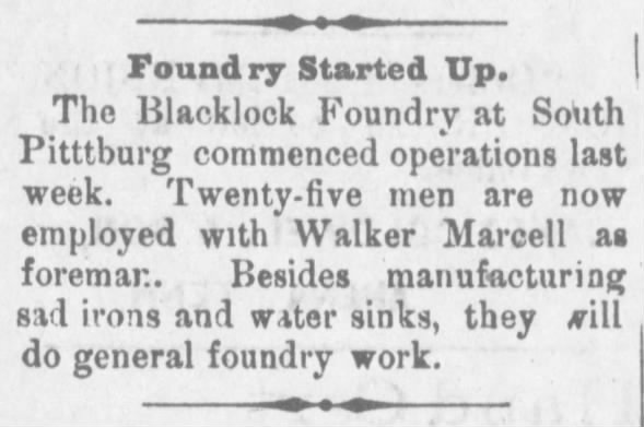 Start up of Blacklock foundry.