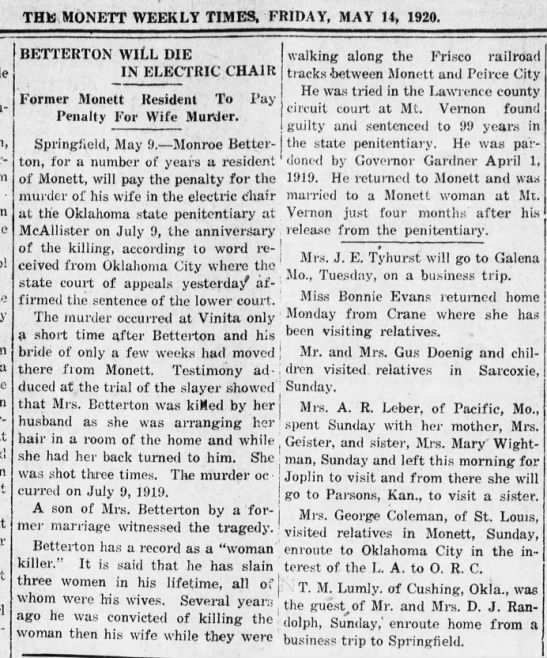 Monroe Betterton Will Die in Electric Chair - THE MONETT WEEKLY TIMES. FRIDAY, MAY 14, 1920....