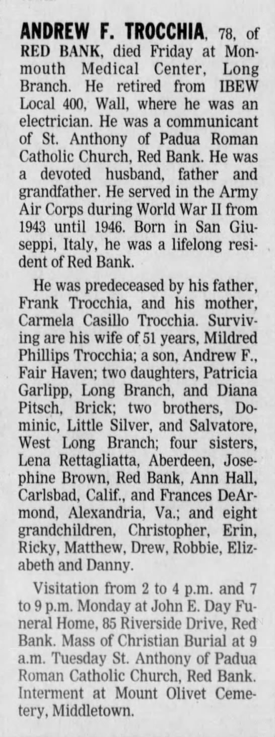 Asbury Park Press 25 Jul 1999, Sun - ANDREW F. TR0CCHIA. 78, of RED BANK, died...