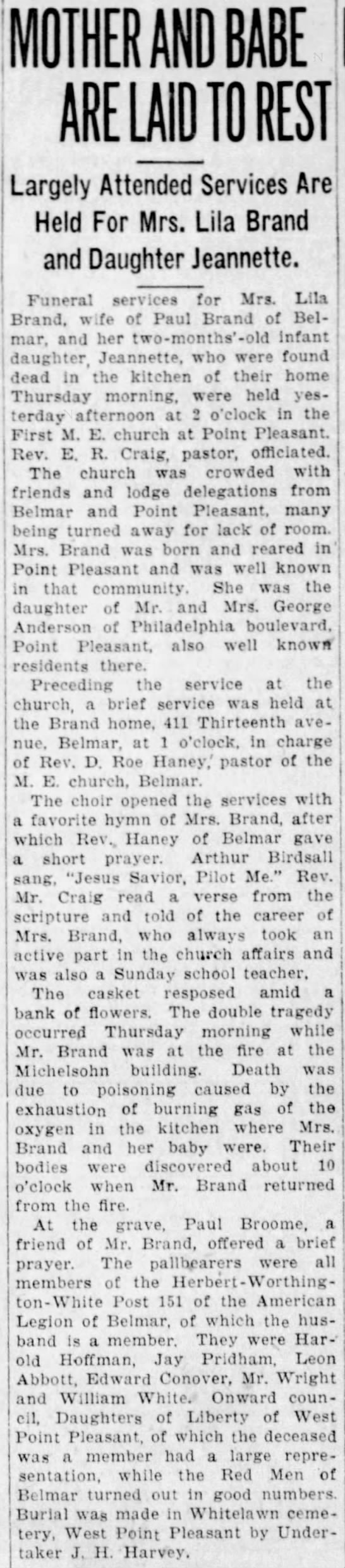 Funeral of Lila Anderson Brand and daughter, Jeanette - MOTHER AND BABE ARE LAID TO REST Largely...