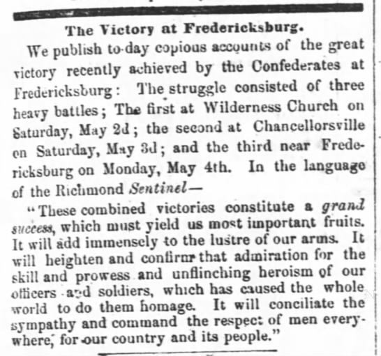 Confederate victory at Chancellorsville reported in North Carolina newspaper - The Victory at Fredericksburg. We publish...