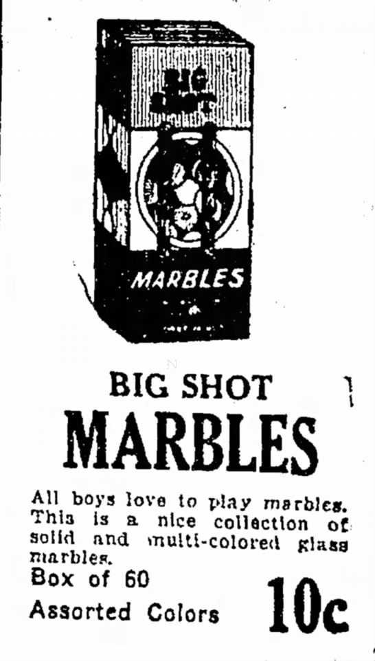 - BIG SHOT } MARBLES All boys love to play...