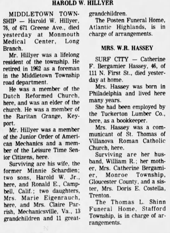 Asbury Park Press (Asbury Park, New Jersey) 14 Jul 1978, Fri Page 21 - HAROLD W. HILLYER MIDDLETOWN TOWNSHIP Harold W....