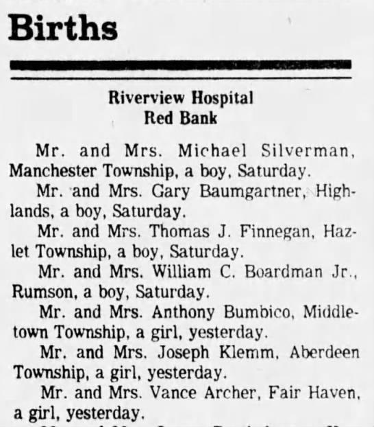 davison/archer birth - Births Riverview Hospital Red Bank Mr. and Mrs....