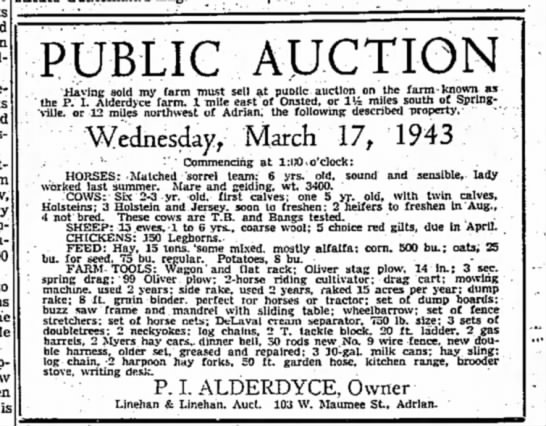 """- is PUBLIC AUCTION """"Having sold my farm must..."""