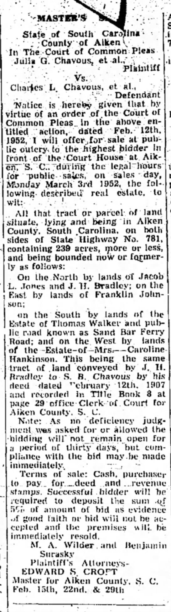 """Charles L Chavous - 15 Feb 1952 Aiken paper - -MASTE* 1 * State of South Carajllna > . """"; :..."""