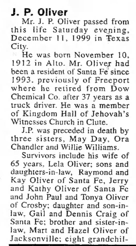 - J. P. Oliver Mr. J. P. Oliver passed from this...