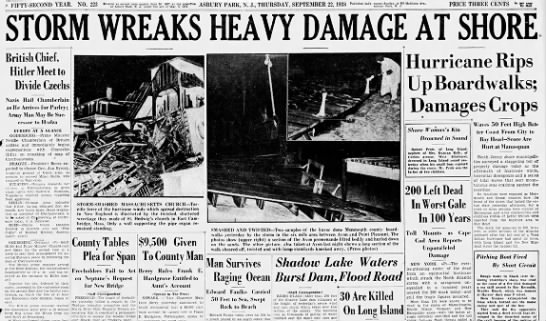 New Jersey hurricane headlines, 1938 - A FIFTY-SECOND FIFTY-SECOND FIFTY-SECOND YEAR....