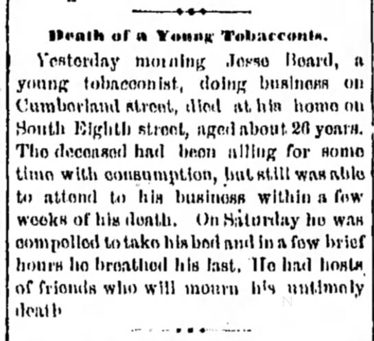 Jesse (Josiah) Beard - death of a young tobacconist - lli>nlli ol' n Vounir Tol»»rc»iil*. Vcfttorday...