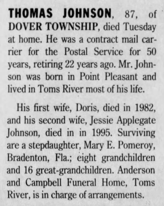 Published in Asbury Park Press; Thursday, 26 September 1996; Page 2 - THOMAS JOHNSON, 87, of DOVER TOWNSHIP, died...