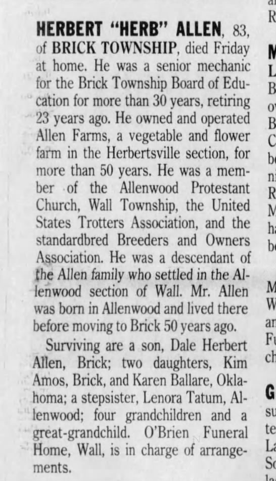 "- HERBERT ""HERB"" ALLEN, 83, of BRICK TOWNSHIP,..."