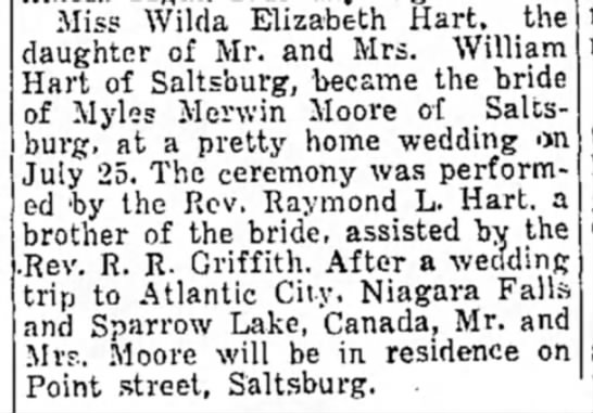 Sparrow Lake News - Miss Wilda Elizabeth Hart, the daughter of Mr....