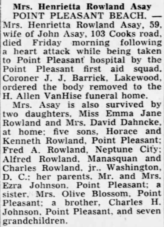Henrietta Johnson Rowland Asay obituary 1889-1948 - Mrs. Henrietta Rowland A say POINT PLEASANT...