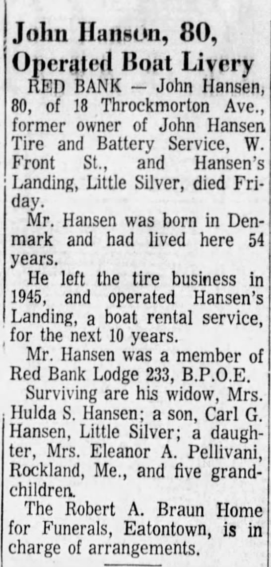 - John Hanson, 80, Operated Boat Livery RED BANK...