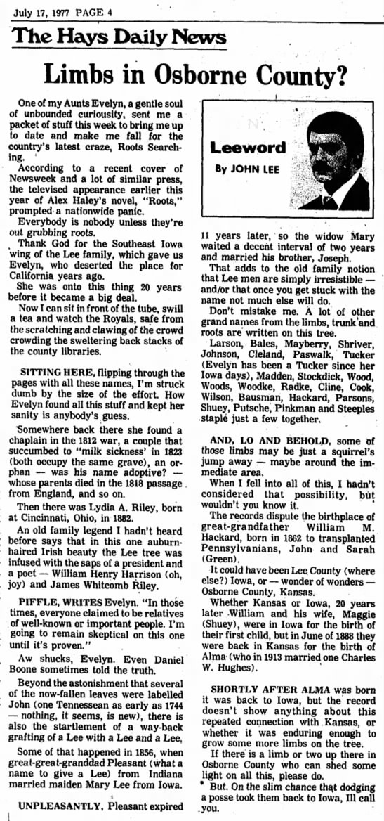 - July 17, 1977 PAGE 4 The Hays Daily News Limbs...