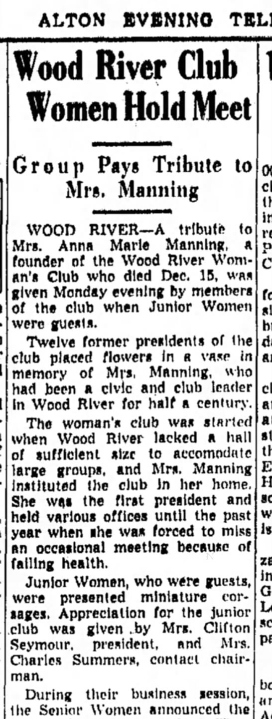 Tribute to Mrs Anna Manning by the Wood River Woman's Club.