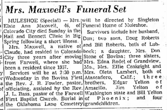 Elsie Yelton Maxwell, Tuesday, 25 Mar 1969, pg. A-7, col. 7-8 - Mrs. MaxiveWs Funeral Set MULESHOE (Special) —...
