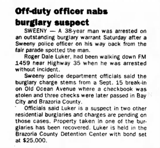 - Off-duty officer nabs burglary suspect SWEENY —...
