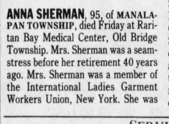 Anna Sherman Obituary - Aug 18, 1991 - ANNA SHERMAN, 95, of manalapan TOWNSHIP, died...