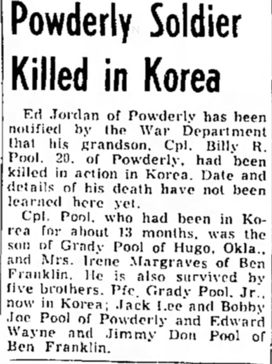 Pool, Billy R dies in Korea - Powderly Soldier Killed in Korea Ktl Jordan of...