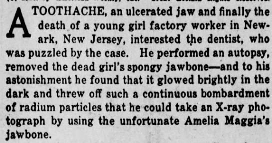 Death of a young girl factory worker - A TOOTHACHE, an ulcerated jaw and finally the...