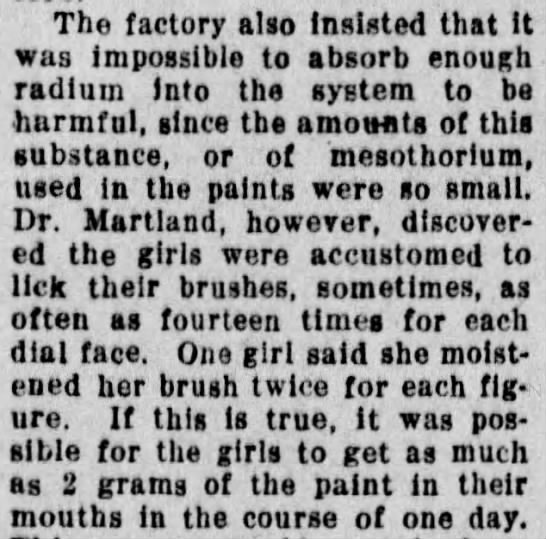 Not enough radium to be dangerous - The factory also insisted that It was...