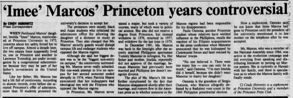 The case of Imee Marcos and her Princeton years resurfaces