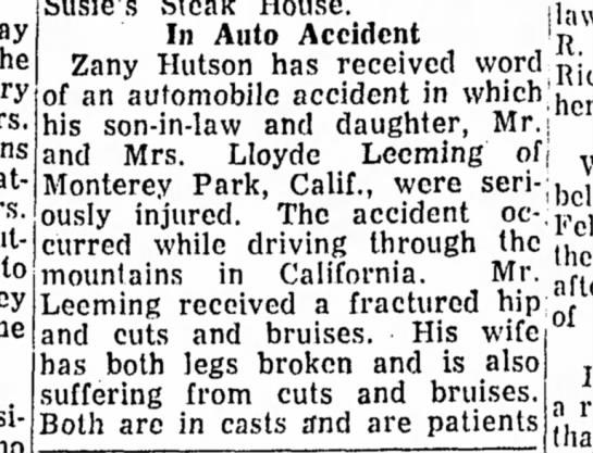 Zany Hutson accident