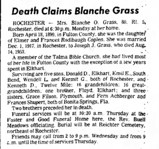 - Death Claims Blanche Grass ROCHESTER - Mrs....