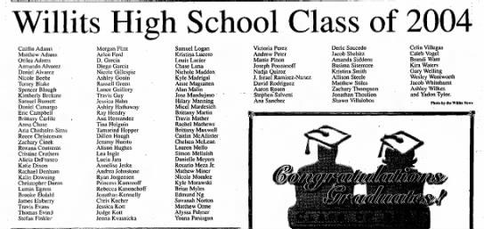 Ashley Wilkes Class of 2004 - Willits High School Class of 2004 Caitlin Adams...