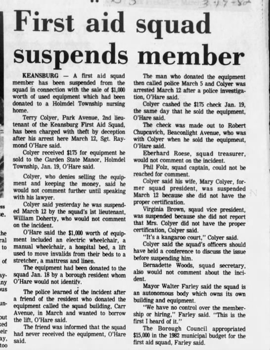 Terry E Coyler arrest 1982 - 3 7 f -i the to of say, too First aid suspends...