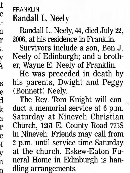 - FRANKLIN Randall L. Neely Randall L. Neely, 44,...