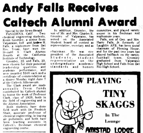 Andrew H. Falls receives Caltech alumni award, Jun 1976 - Andy Foils Receives Co I tech Alumni A word...