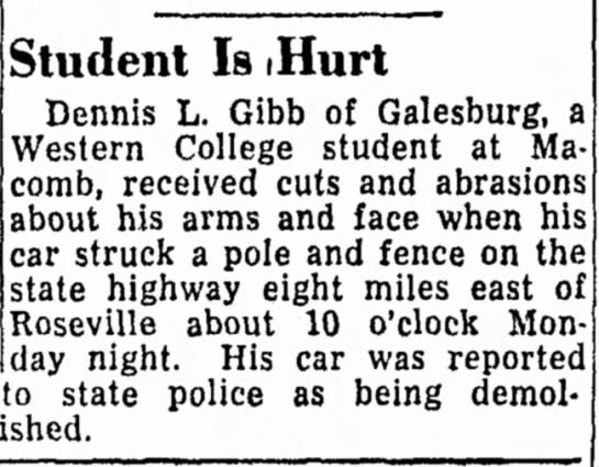 - Student Is (Hurt Dennis L. Gibb of Galesburg, a...