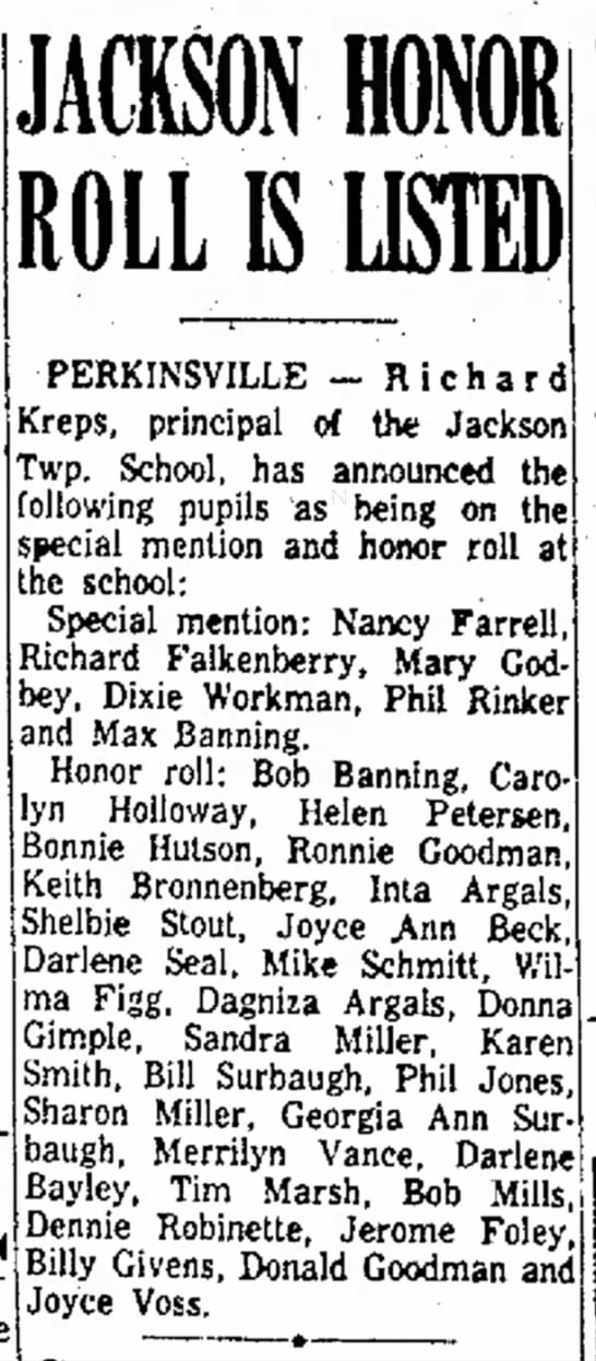 Anderson Daily BulletinMarch 12, 1955Honor Roll (Dixie Workman) - holds in program PERKINSVILLE - R i c Kreps,...