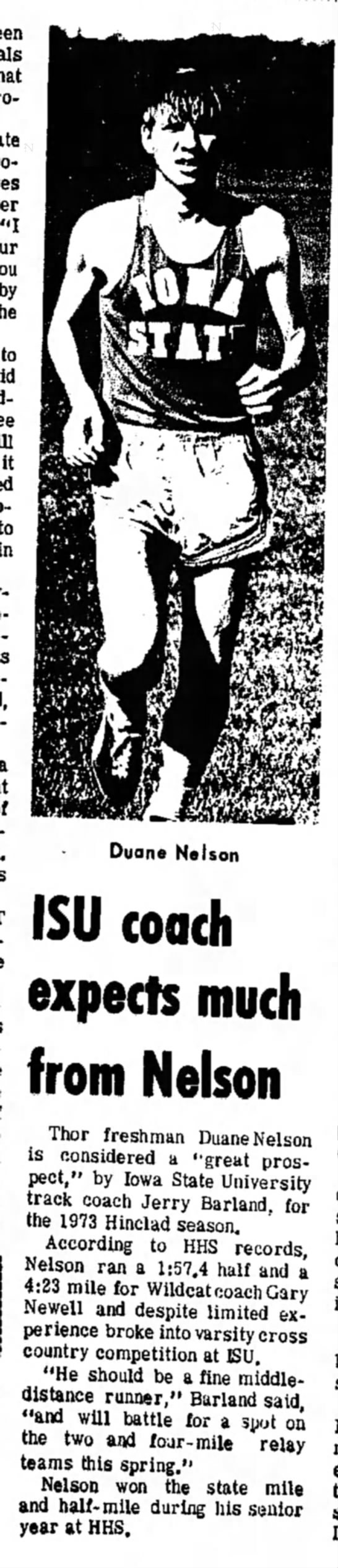 """March 17, 1973 Iowa State article - """"I by to it to Duane Nelson ISU coach expects..."""