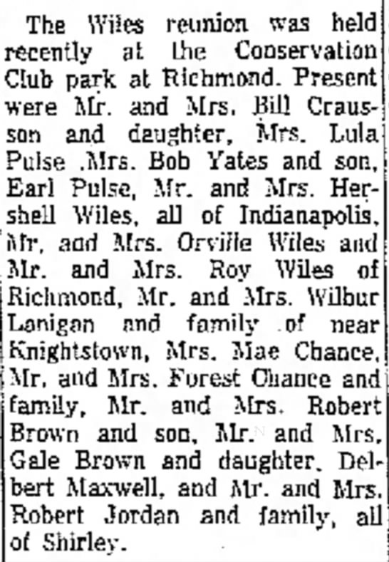 August 26, 1960 -Wiles Family Reunion - N , Tex. in The Wiles reunion was held recently...