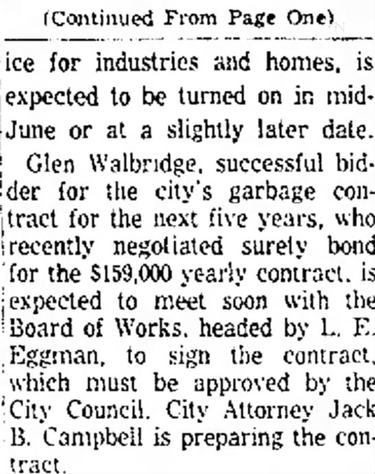Glen Walbridge - (Continued From Page One) ice for industries...