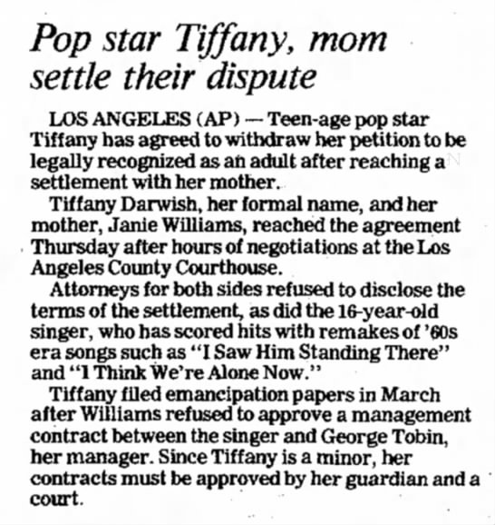 - Pop star Tiffany, mom settle their dispute LOS...