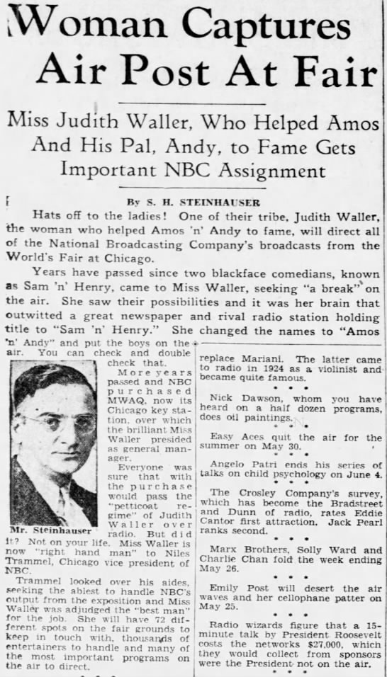 Waller directs network World's Fair broadcasts - Woman Captures Air Post At Fair Miss Judith...