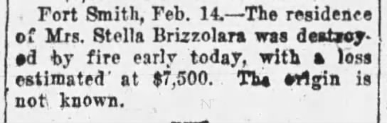 Stella Brizzolara - . Fort Smith, Feb. 14. The residence of Mrs....