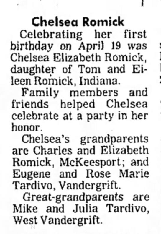 - Chelsea Romick Celebrating her first birthday...